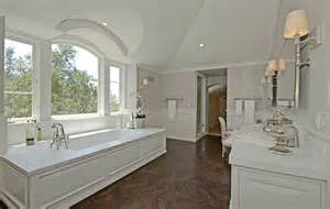wood flooring in bathroom wood herringbone floor transitional bathroom