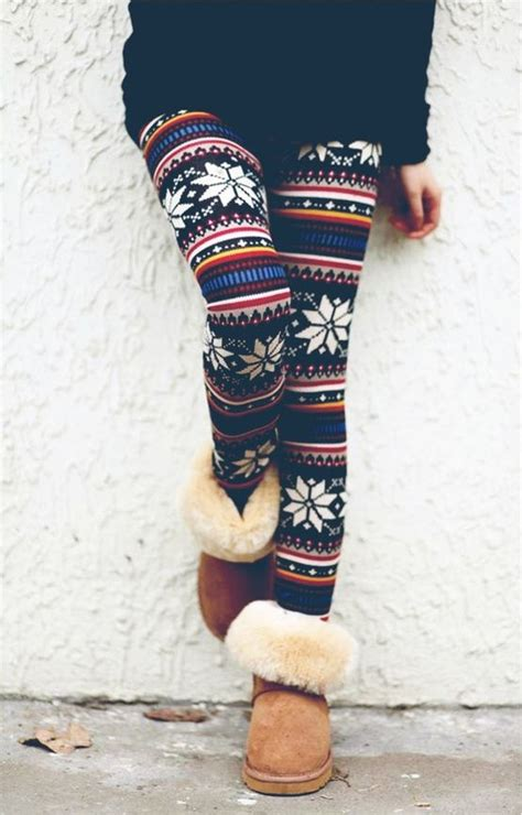 winter pattern leggings outfits winter print leggings uggs make up hair clothes and