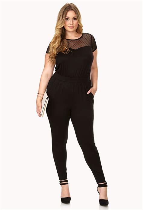 Jumpsuit Forever21 forever 21 femme mesh jumpsuit in black lyst