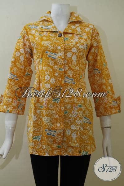 Baju Batik Pastel Kuning baju batik warna kuning cerah lengan tujuh perdelapan blus batik keren membuat wanita lebih