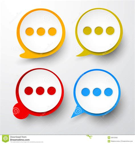 paper set of round speech bubble stock photography