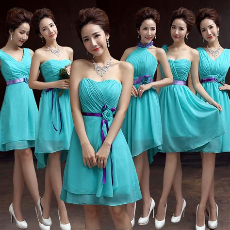 Blouse Ribbon 2in1 teal bridesmaid dresses chiffon turquoise blue dress for weddings sweetheart bridesmaid dress