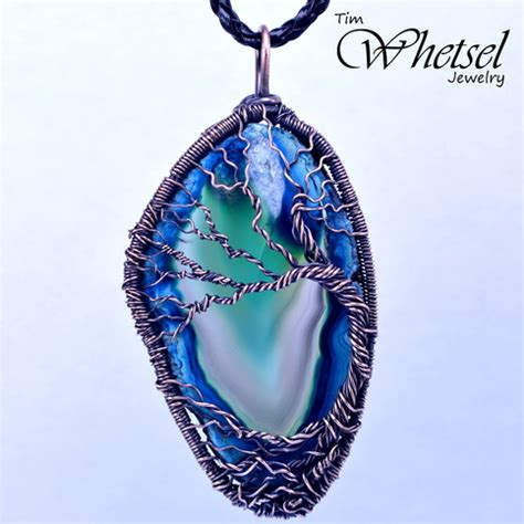 tree of wire wrapped necklace blue agate b 183 wire