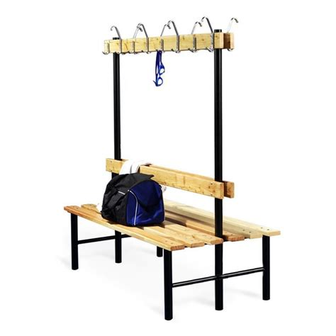 changing room benches with hooks quot stabil quot double bench with hook rail aj products ireland
