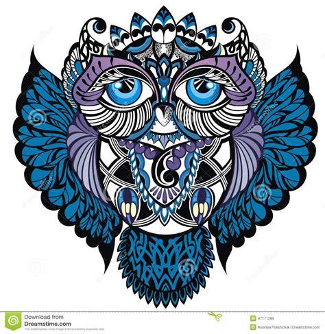 sowa ptak dekoracyjny ilustracja wektor ilustracja