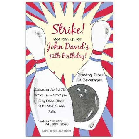 bowling invitation template bowling birthday invitations paperstyle
