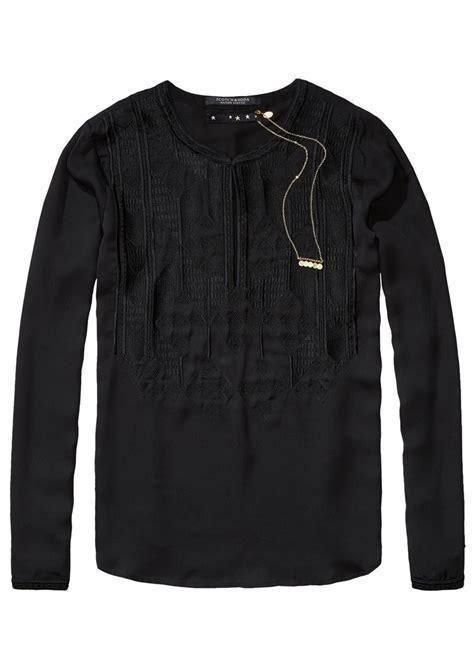 maison scotch silky embroidered blouse black
