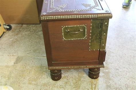 Zanzibar Coffee Table Arab Wooden And Brass Studded Coffee Cocktail Table Trunk Or Chest From Zanzibar For Sale At 1stdibs