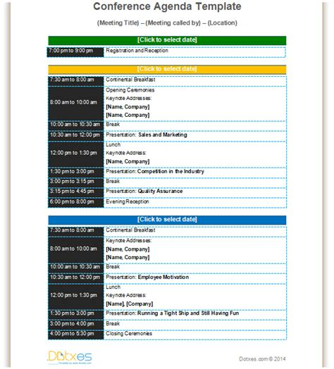 conference meeting agenda template conference agenda template basic format dotxes
