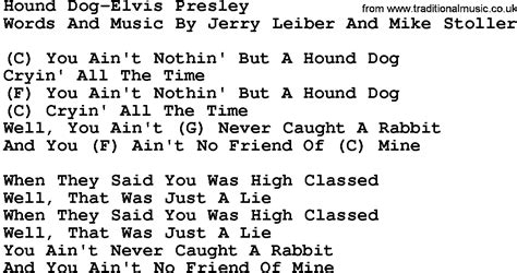 country songs about dogs country hound elvis lyrics and chords