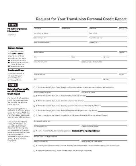 Credit Report Form Pdf Sle Annual Credit Report Form 8 Exles In Pdf Word