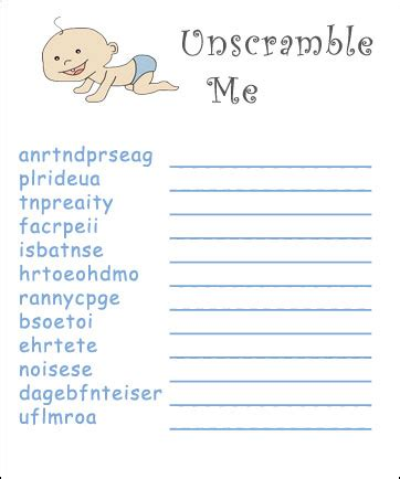 Free Printable Baby Shower Word Scramble by Printable Baby Shower Word Scramble