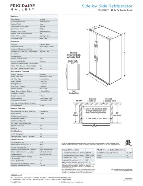 Counter Depth Sxs Refrigerators Frigidaire Gallery Side