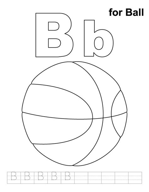 B For Ball Coloring Page With Handwriting Practice B Coloring Pages