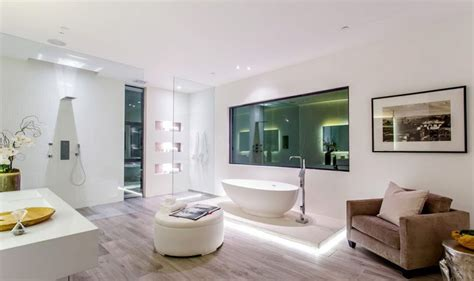 modern style master bathroom opens to hollywood hills view this new house is lighting up the hollywood hills in los