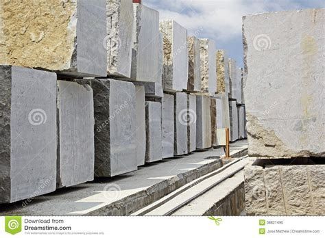 granite blocks extracted from quarry stock photo