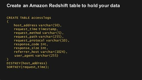 Redshift Create Table by Big Data Application