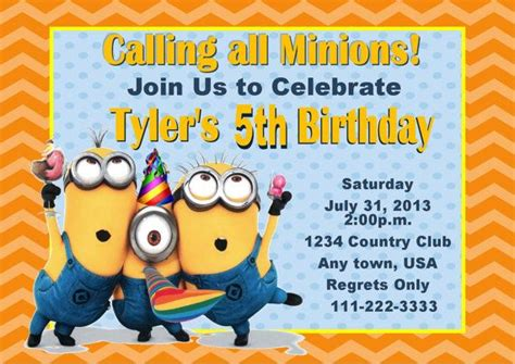 birthday card template minions despicable me invitations theruntime