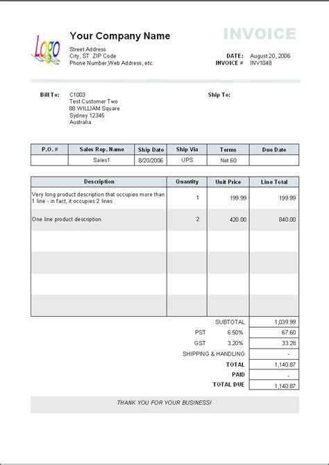 Invoice Template by 5 Blank Invoice Templates Word Excel Pdf Templates