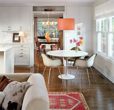 Delightful Dining Table Setting Ideas #6: Bright-orange-pendant-adds-color-to-the-setting.jpg