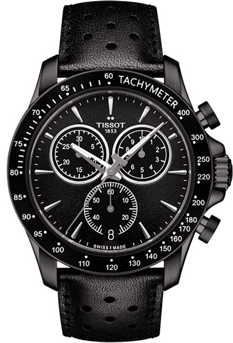 Tissot V8 Leather Crono Black For tissot v8 quartz chronograph t1064173605100