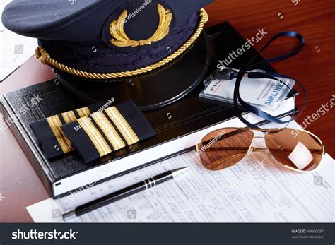 Airline Pilot Background Check Professional Airline Pilot Hat Id Holder Stock Photo 49099087