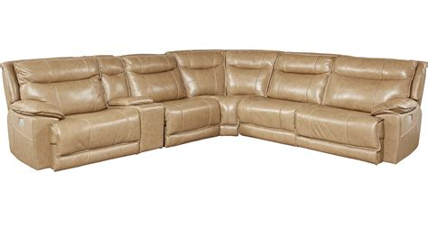 Reclining Sectional Leather by 2 999 99 Ranch Beige 6 Pc Leather Power Plus