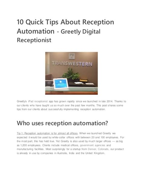 10 tips for reception automation greetly digital receptionist