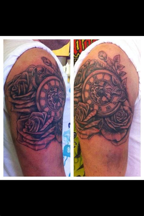 pocket watch and roses sleeve tattoo tattoos pinterest