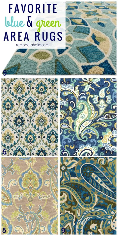indie pattern blue green rug remodelaholic 20 green and blue area rugs you ll love