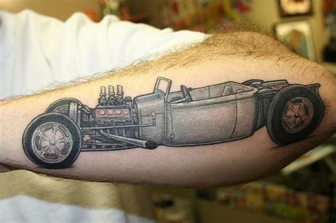 Tattoo Hot Rod Show | a hot rod car tattoo on the forearm shows how the engine