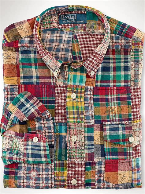 Patchwork Madras - lyst polo ralph custom patchwork madras shirt in