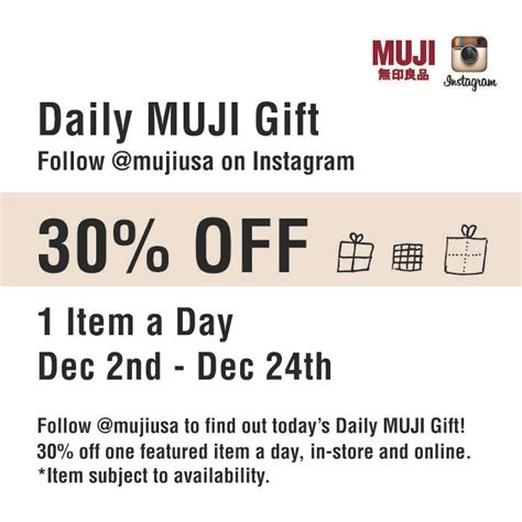 muji usa promotion 30 off one featured item a day follow muji