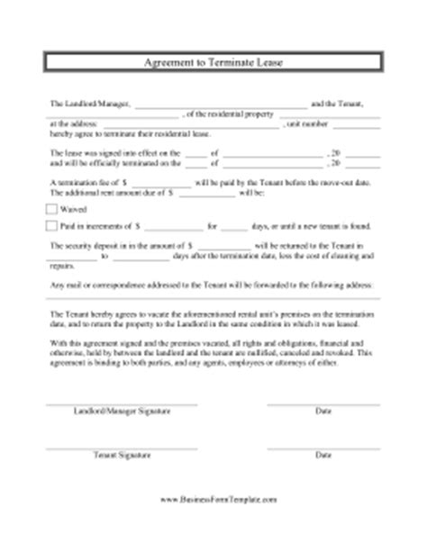 Lease Termination Agreement Exle Agreement To Terminate Lease Template
