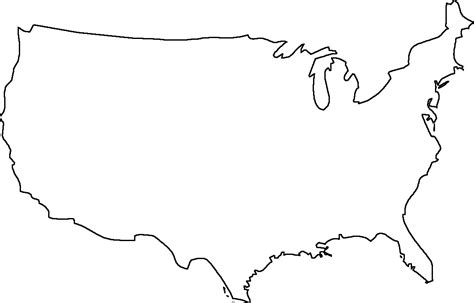Black And White Us Map Outline Cdoovision Com Map Template