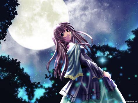 imagenes anime luna bajo la luz de la luna