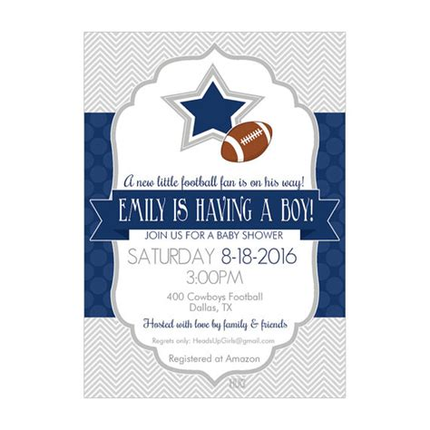 Dallas Cowboys Baby Shower Invitations by Personalized Dallas Cowboys Football Baby Shower