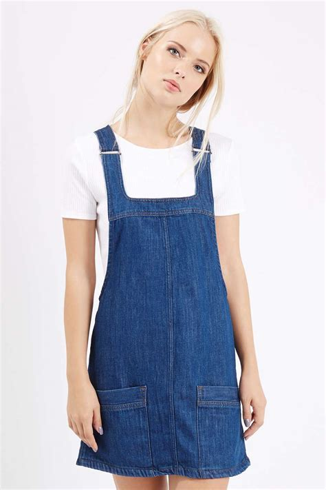 Dress Denim moto vintage denim pinafore dress topshop