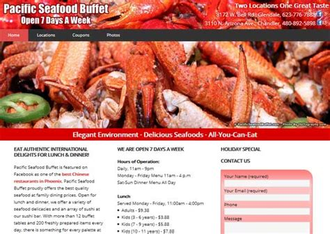 Redesign Pacific Seafood Buffet Website From Scratch With Seafood Buffet Coupon