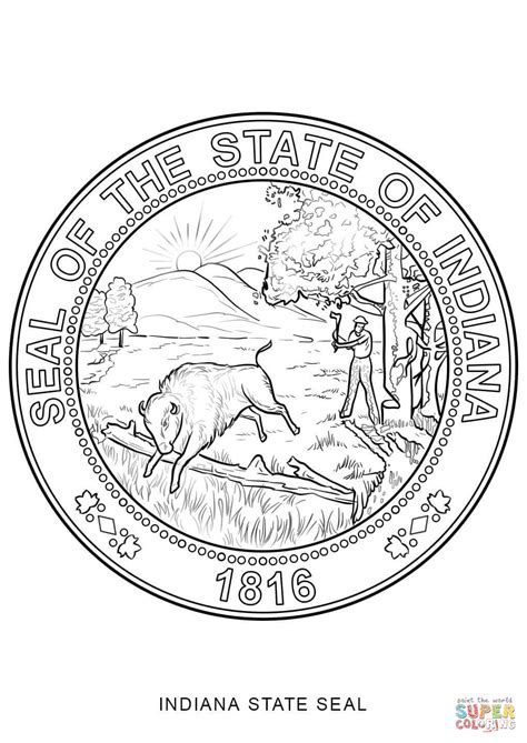 indiana coloring page indiana state seal coloring page free printable coloring