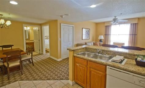 wyndham grand desert 3 bedroom presidential suite open floor plan to dining and living room from kitchen