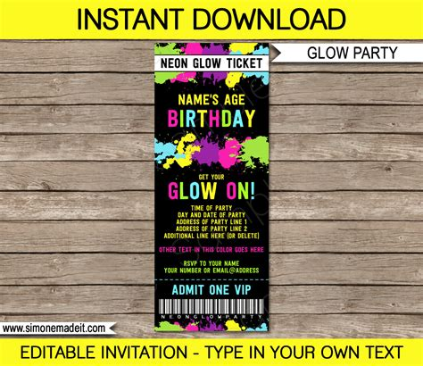 neon glow party ticket invitation neon glow theme birthday