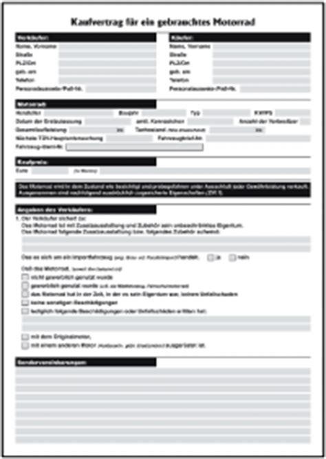 Motorrad Gebraucht Kaufen Vertrag by Kaufvertrag Gebrauchtes Motorrad Privat Formulare Gratis