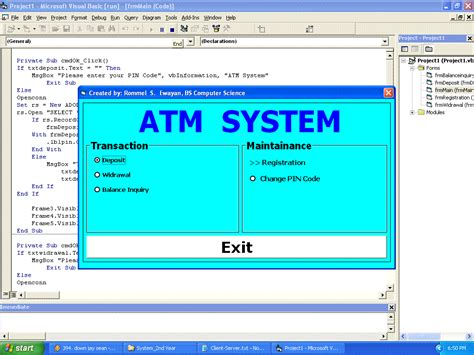 simple visual basic program simple atm system free source code tutorials and articles