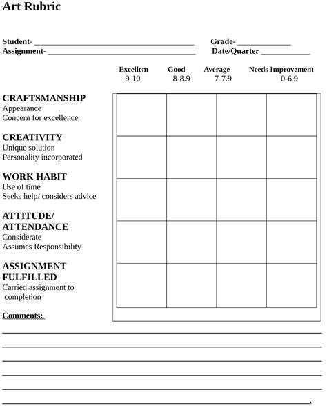 printable art rubric art rubric template new calendar template site