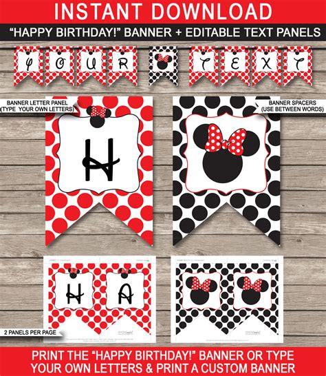 printable editable banner minnie mouse birthday banner template red editable bunting
