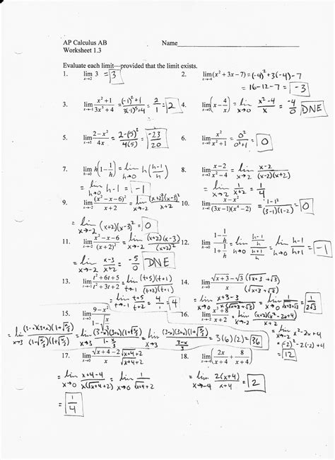 Calculus Worksheets by Pictures Calculus Limits Worksheet Toribeedesign