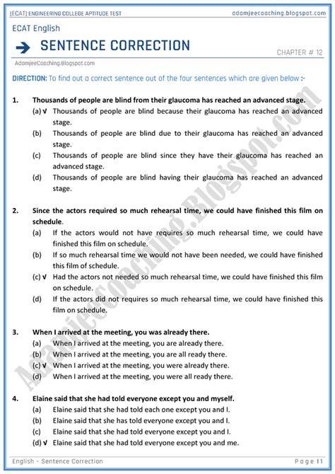 Sentence Correction Mba Cet by Adamjee Coaching Ecat Sentence Correction Mcqs