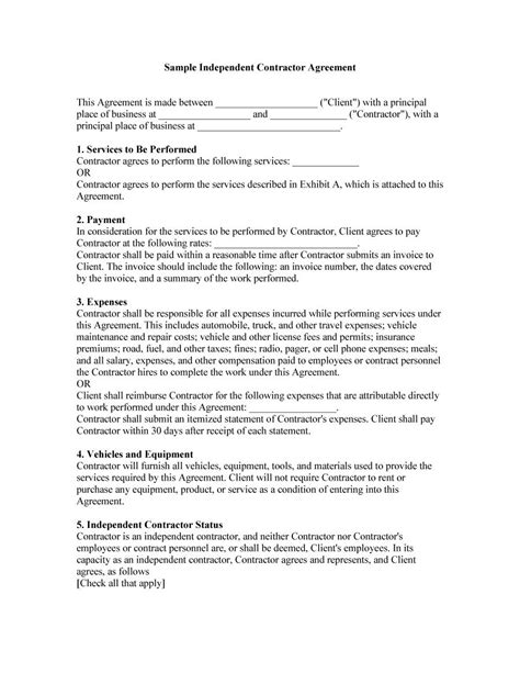 free contractor contract template 50 free independent contractor agreement forms templates