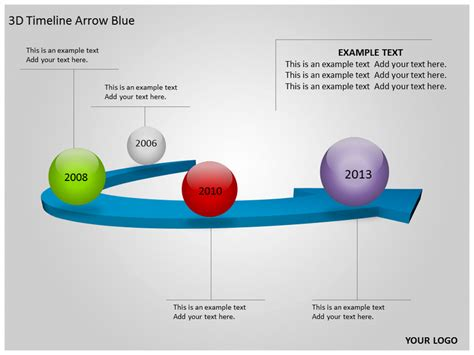 3D Timeline Arrow Blue PowerPoint Template Background of